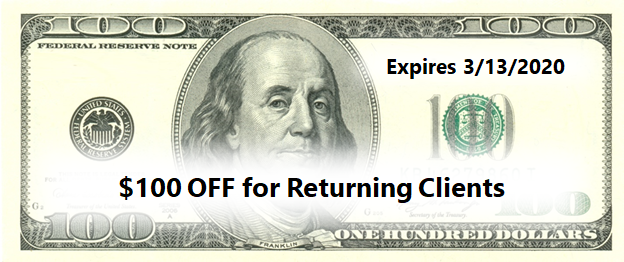 $100 off promotion coupon for returning clients